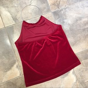 Vintage Tops - 90's Choker Halter Top Silver Red Tank Top S